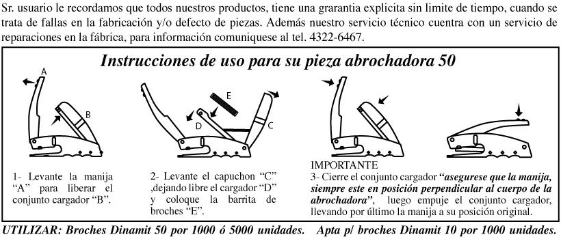 Instrucciones de uso para Pinza 50